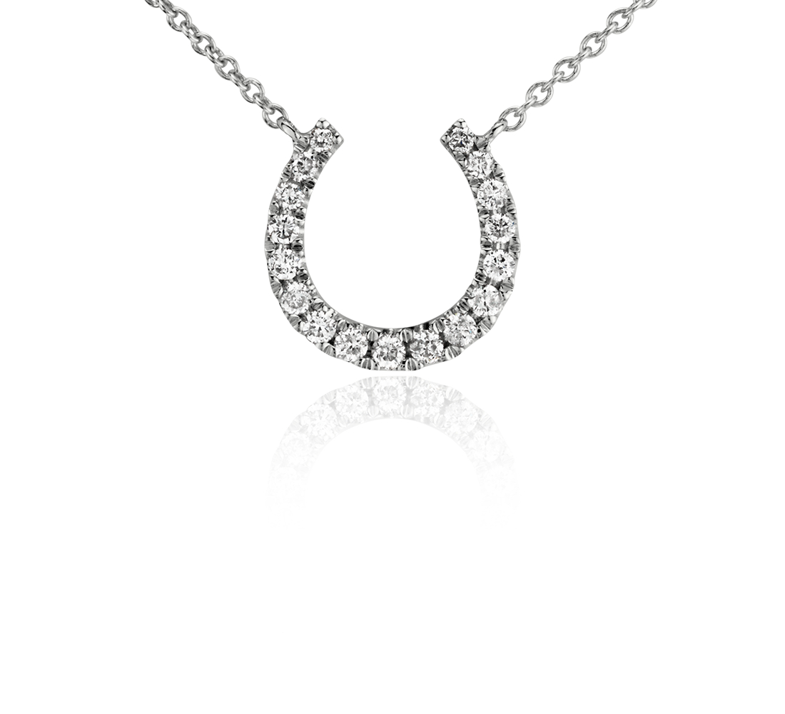 Collier mini fer à cheval en diamant en or blanc 14 carats (1/10 carat, poids total)