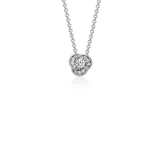 Mini Diamond Knot Pendant in 14k White Gold