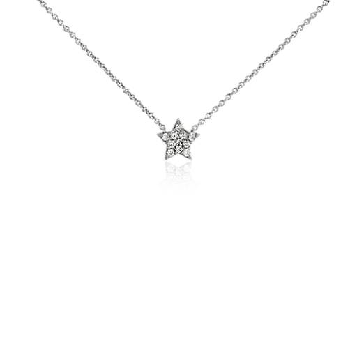 Collier mini étoile en diamant en or blanc 14 carats