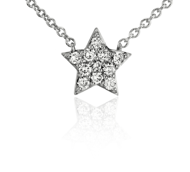 Mini Star Diamond Necklace in 14k White Gold