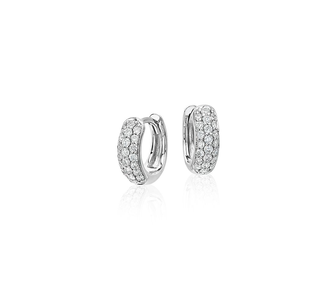 Mini Pavé Hoop Earrings in 14k White Gold (1/3 ct. tw.)