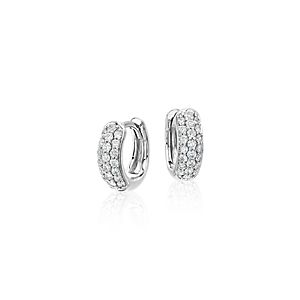 Mini Diamond Pavé Hoop Earrings in 14k White Gold (1/3 ct. tw.)