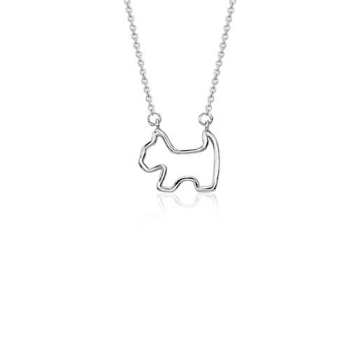 Mini Dog Necklace in Sterling Silver
