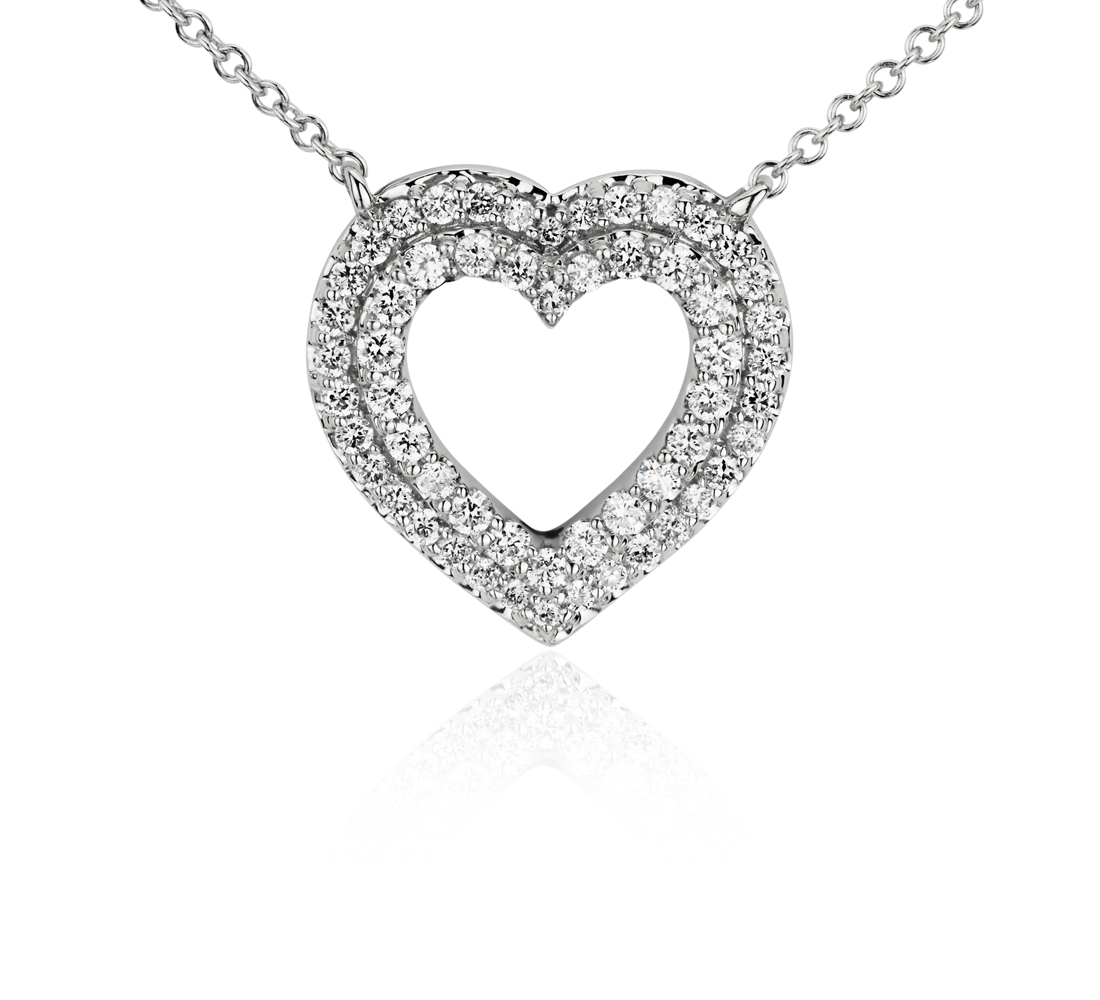 Mini Double Diamond Heart Pendant in 14k White Gold (1/4 ct. tw.)