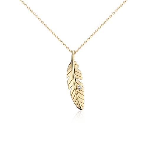Petit pendentif diamant plume en or jaune 14carats
