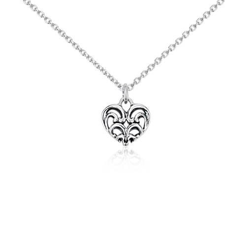 Mini Filigree Heart Pendant in Sterling Silver