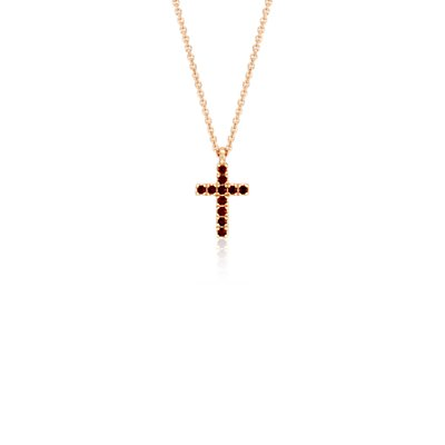 Mini Garnet Cross Pendant in 14k Rose Gold (1.25mm)