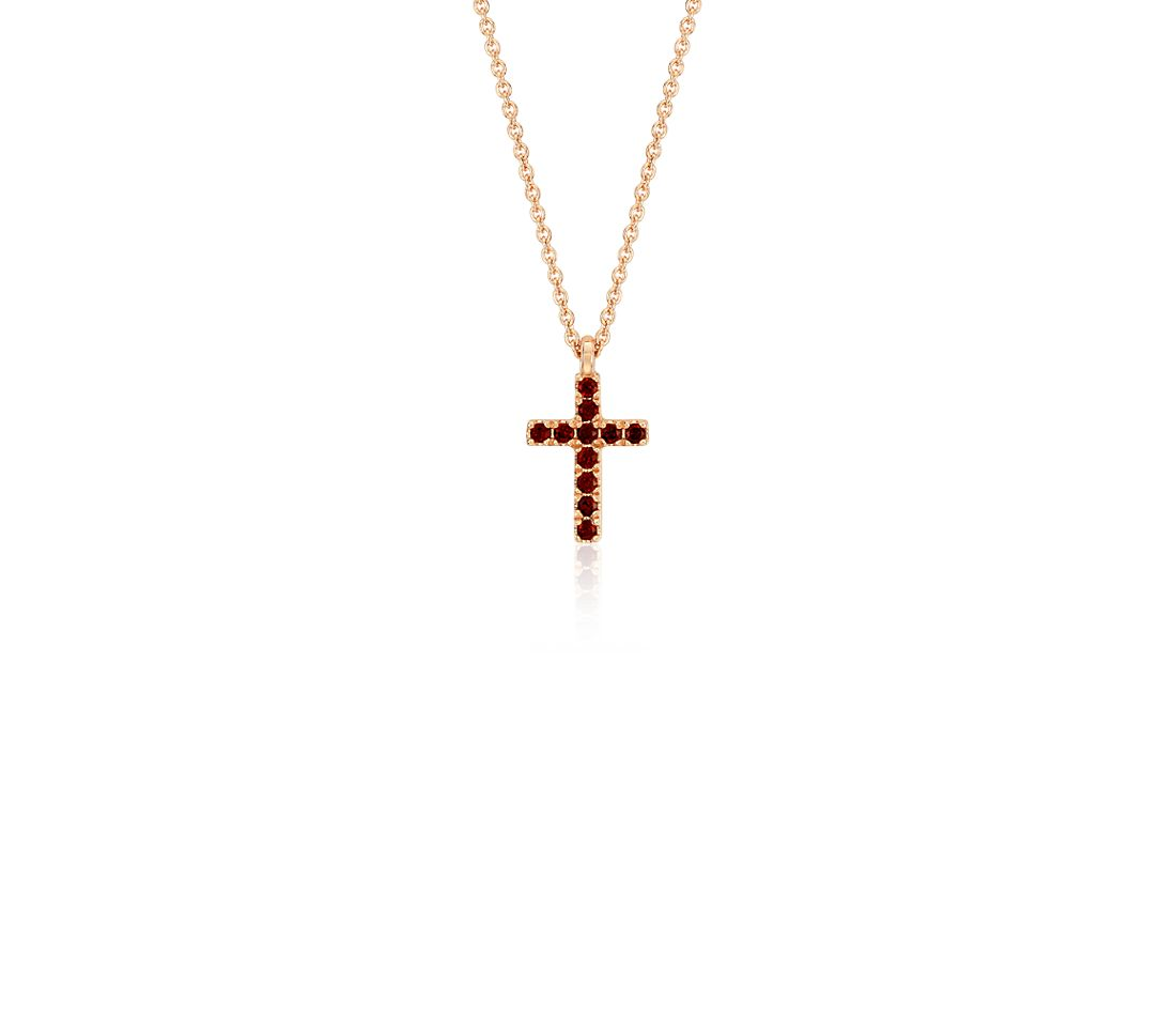 Mini Garnet Cross Pendant in 14k Rose Gold
