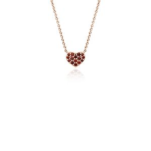 Mini Garnet Heart Pendant in 14k Rose Gold