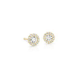 Martini Halo Diamond Earrings in 14k Yellow Gold (1/2 ct. tw.)