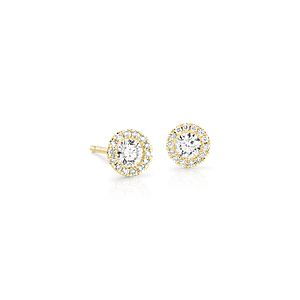 Martini Halo Diamond Earrings in 14k Yellow Gold (1/2 ct. tw.)