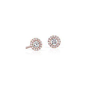 Boucles d'oreilles halo de diamants Martini en or rose 14carats (1/2carat, poids total)