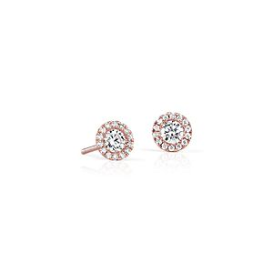 Martini Halo Diamond Earrings in 14k Rose Gold (1/2 ct. tw.)