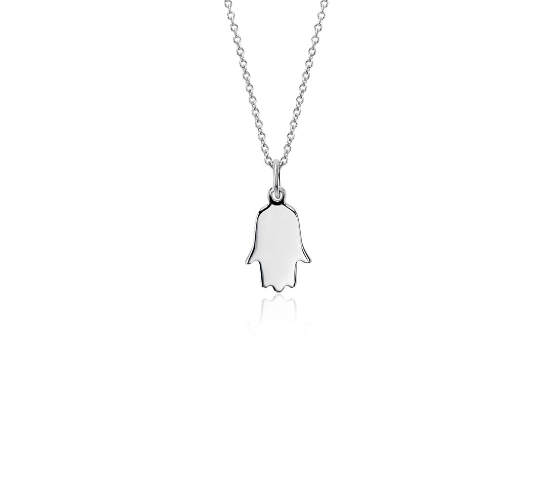 Mini Hamsa Pendant in Sterling Silver