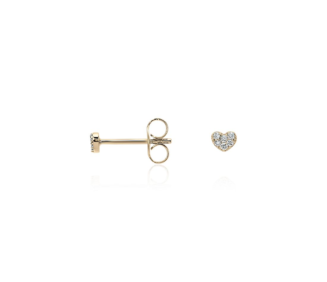 Mini Heart Diamond Earrings in 14k Yellow Gold