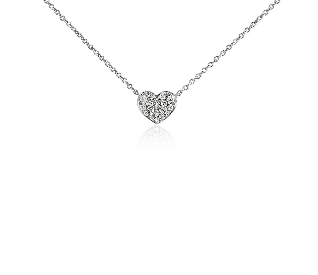 Mini Diamond Heart Necklace in 14k White Gold