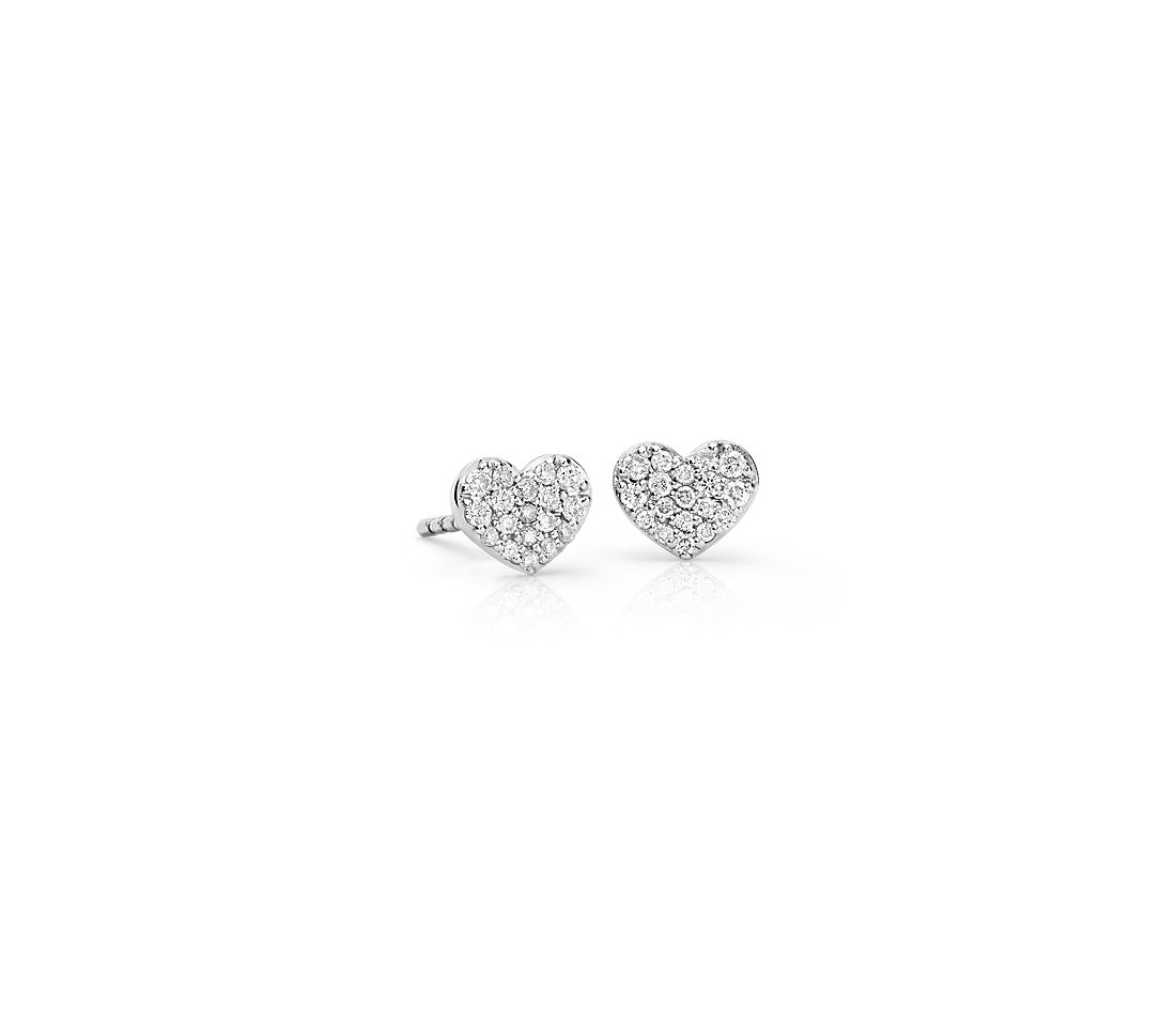 Mini Diamond Heart Earrings in 14k White Gold (1/10 ct. tw.)