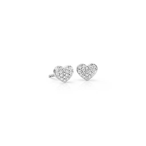 Boucles d'oreilles petit cœur en diamant en or blanc 14carats (1/10carat, poids total)