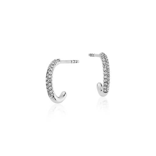 Mini Hoop Diamond Earrings in 14k White Gold