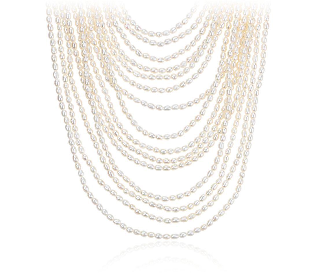 Layered Freshwater Cultured Pearl Necklace with Sterling Silver