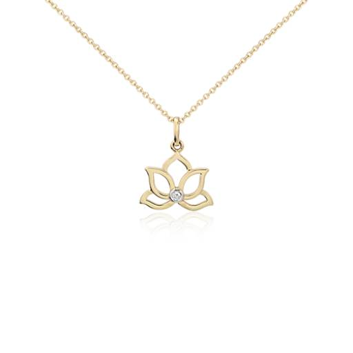 Mini Lotus Diamond Pendant in 14k Yellow Gold