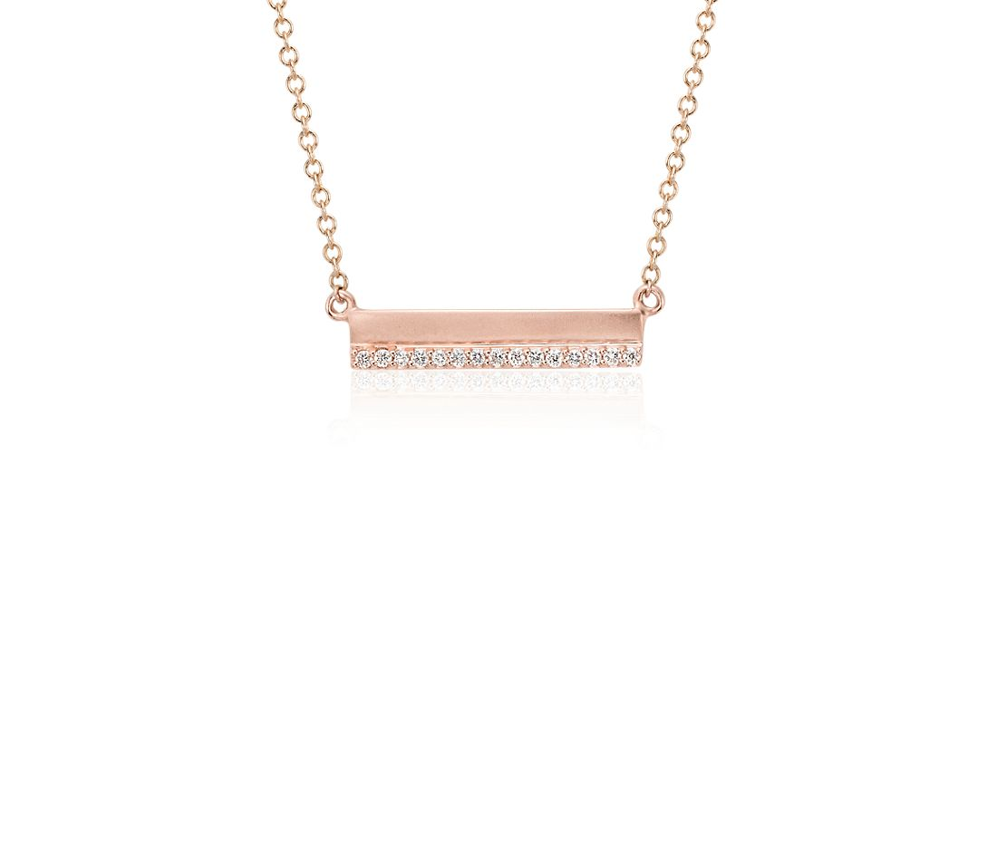 Mini Matte Diamond Bar Necklace In 14k Rose Gold 1 10 Ct
