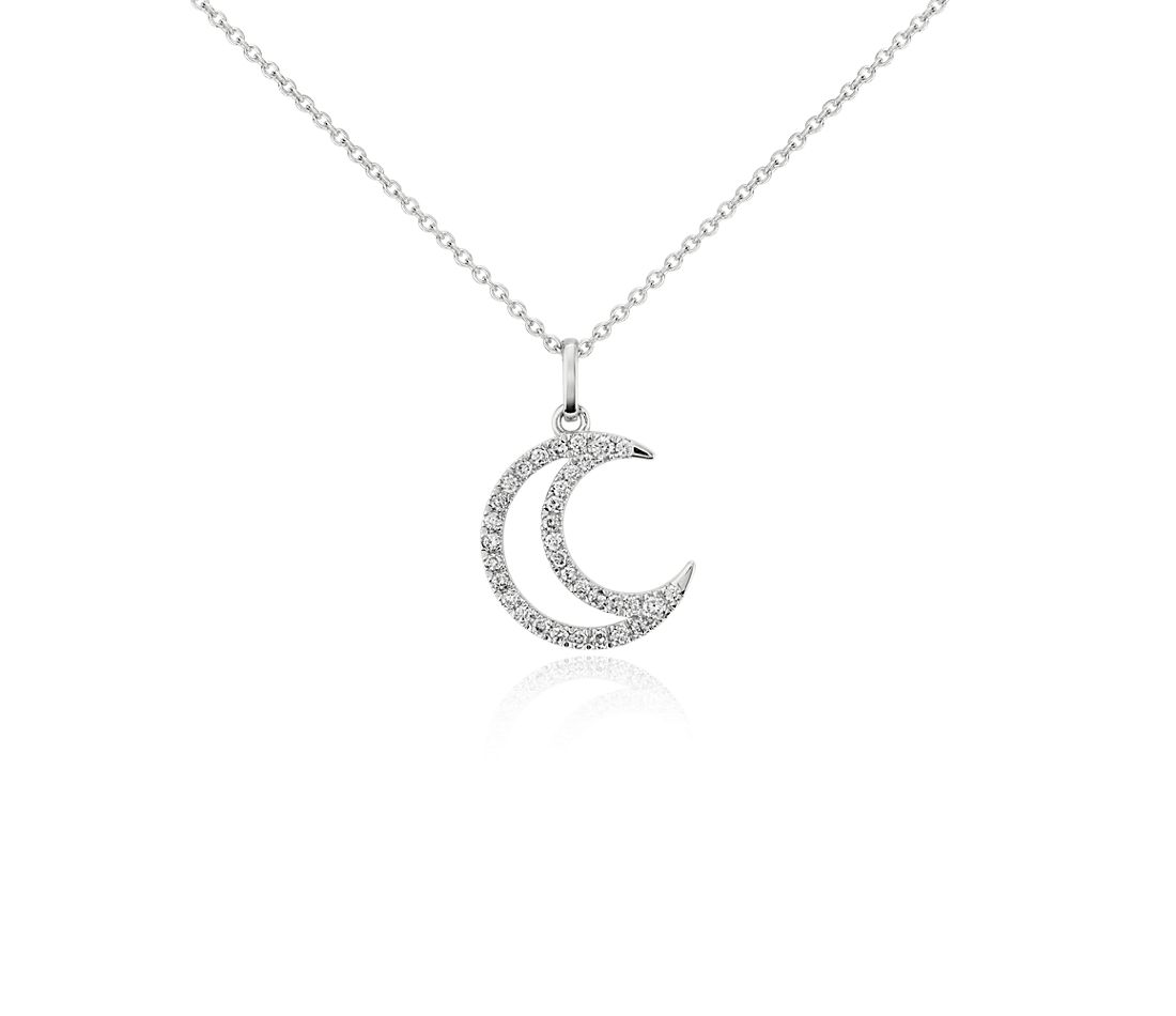 Mini Moon Pave Diamond Pendant in 14k White Gold