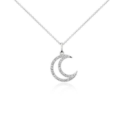 Petit pendentif diamant serti pavé lune en or blanc 14carats (1/10carat, poids total)