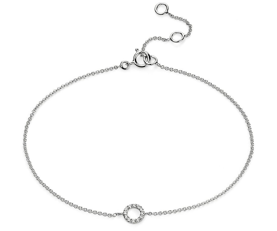 Mini Open Circle Diamond Bracelet in 14k White Gold