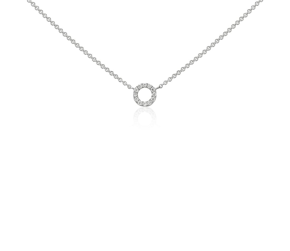 Collier en diamants mini cercle en or blanc 14 carats