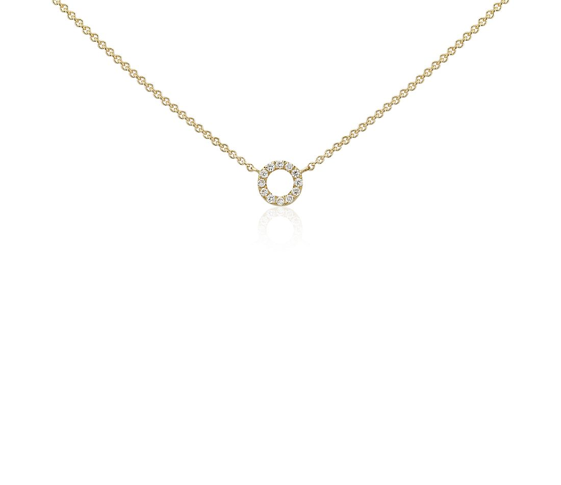 Mini Circle Diamond Necklace in 14k Yellow Gold