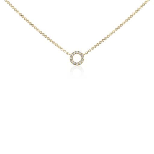 Mini collar de diamantes con círculo en oro amarillo de 14k