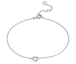 Mini Heart Diamond Bracelet in 14k White Gold