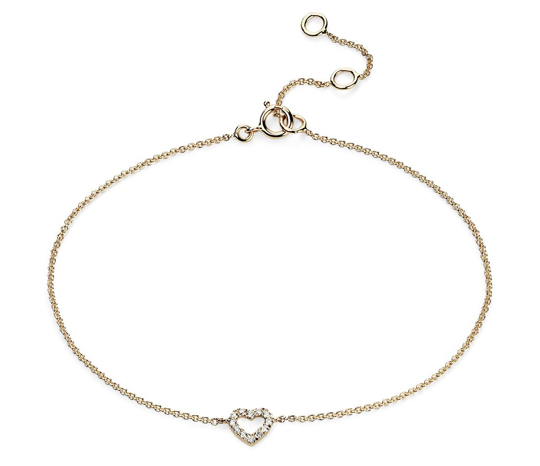 Mini Heart Diamond Bracelet in 14k Yellow Gold