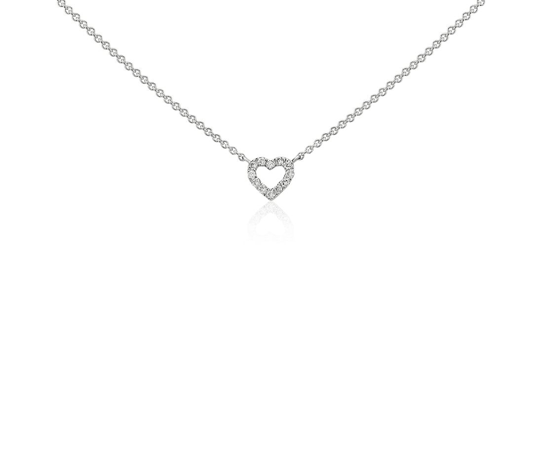 Mini Heart Diamond Necklace in 14k White Gold