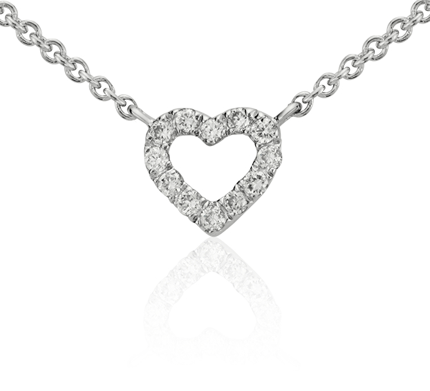 Mini collier cœur en diamant en or blanc 14 carats