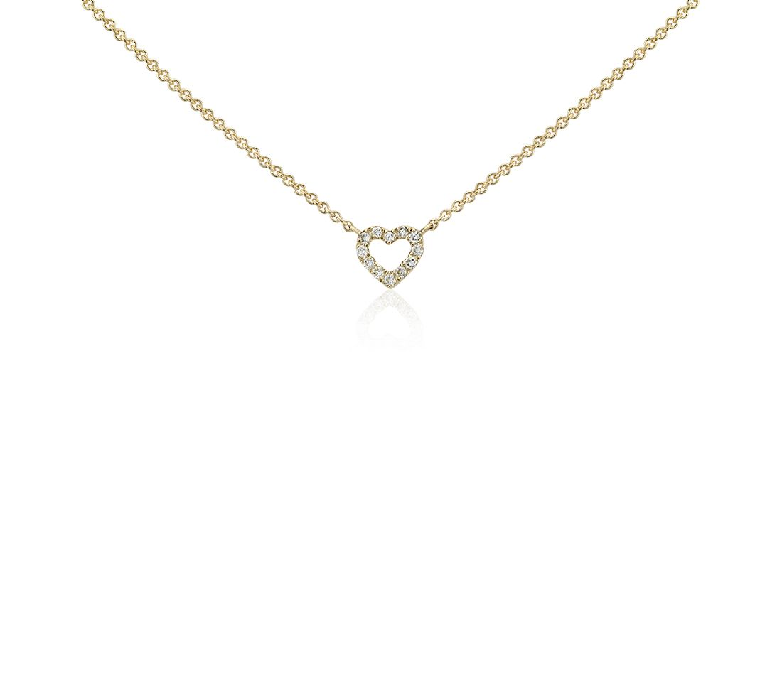 Mini Heart Diamond Necklace in 14k Yellow Gold