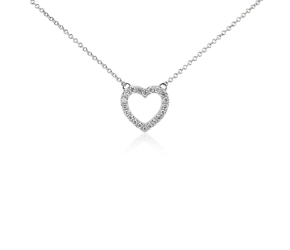 Diamond Mini Heart Pendant in 14k White Gold