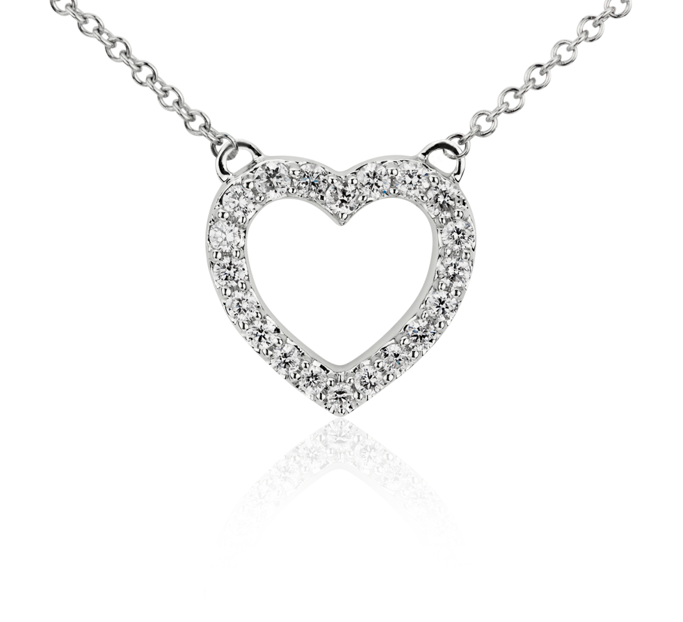 Mini Heart Diamond Pendant in 14k White Gold (1/6 ct. tw.)