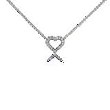 Colgante pequeño con corazón de diamante en oro blanco de 14k