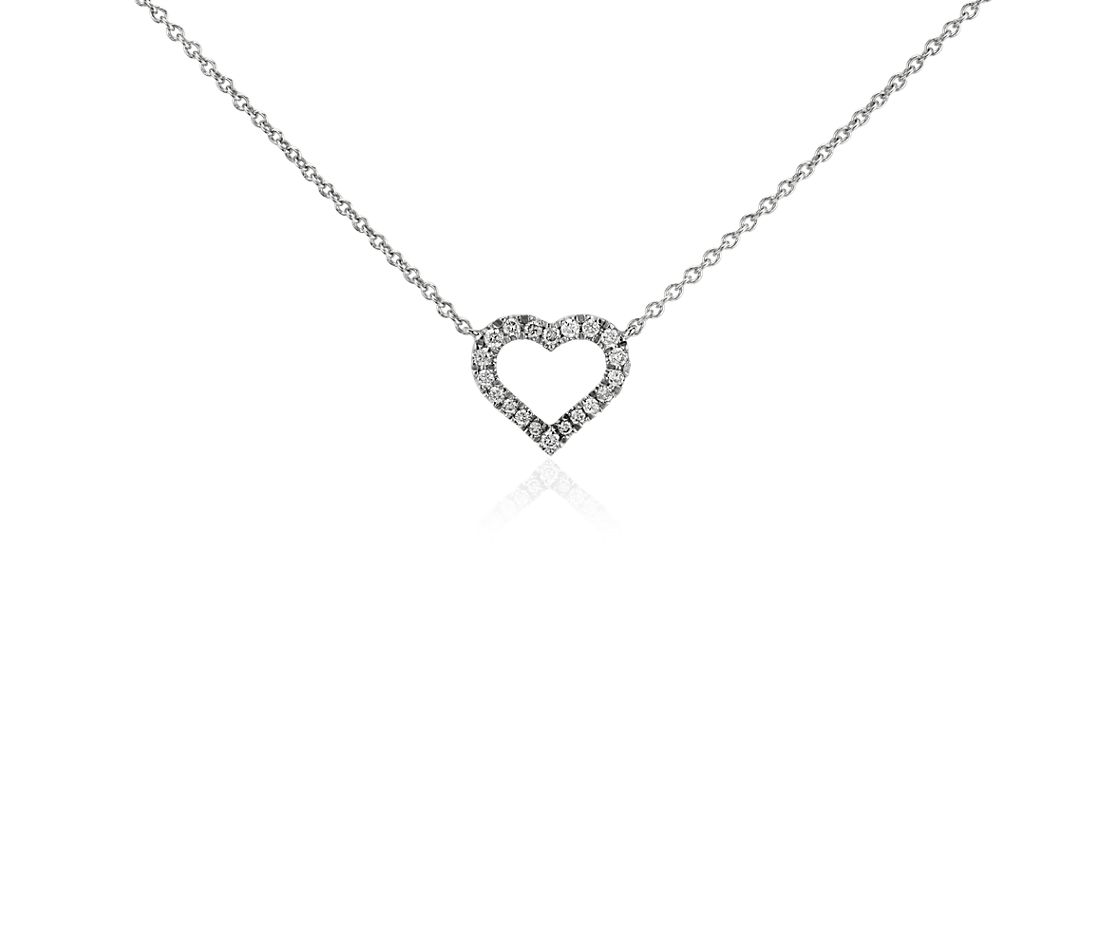 Mini Heart Diamond Pendant in 14k White Gold
