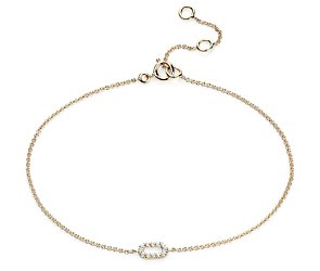 Mini Open Bar Diamond Bracelet in 14k Yellow Gold