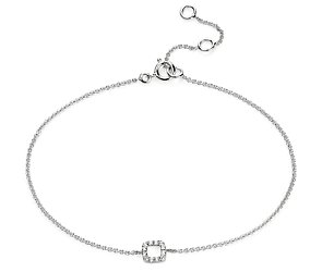 Mini Open Square Diamond Bracelet in 14k White Gold