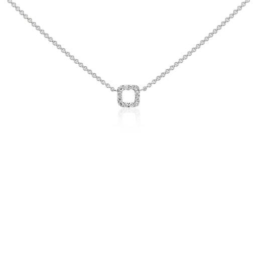 Mini Square Diamond Necklace in 14k White Gold