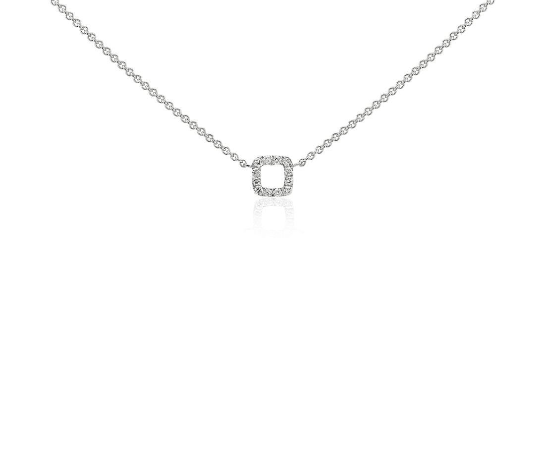 Mini Square Diamond Necklace in 14k White Gold