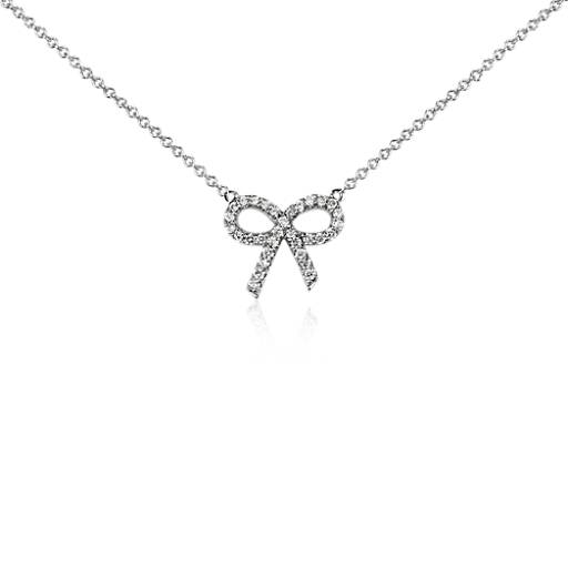 Mini Diamond Bow Necklace in 14k White Gold (1/8 ct. tw.)