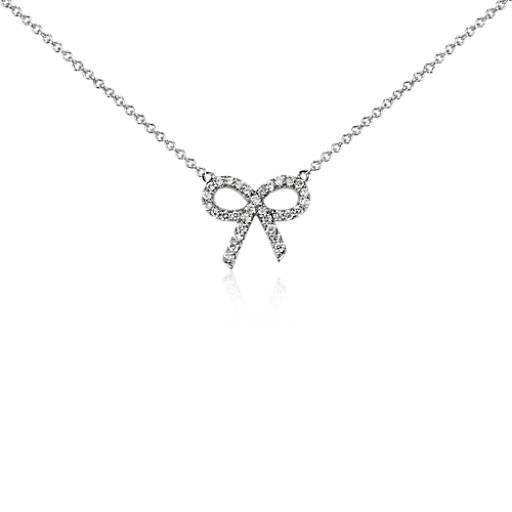 Mini Diamond Bow Necklace in 14k White Gold (1/8 ct. tw.)