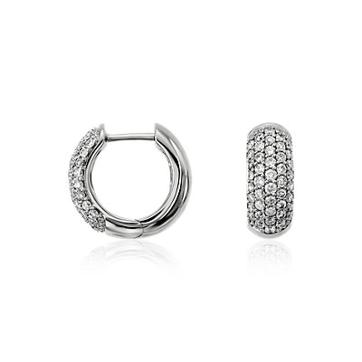 Diamond Pavé Hoop Earrings in 14k White Gold (5/8 ct. tw.)