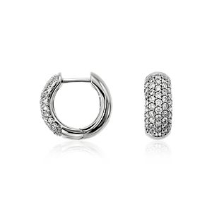 Créoles diamant serti pavé en or blanc 14carats (5/8carat, poids total)