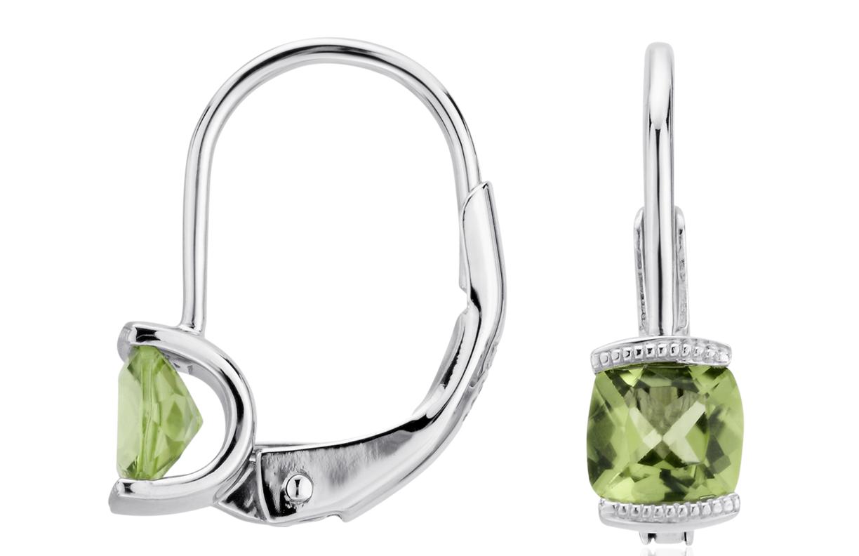 Petits pendants d'oreilles péridot en argent sterling